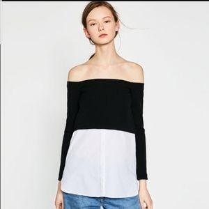 Zara Trafaluc Black & White Off the Shoulder Top